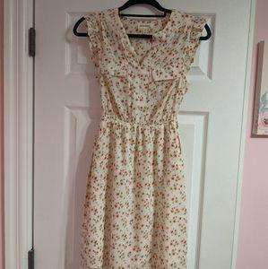 Monteau Beige Pink Floral Dress